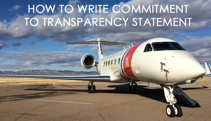 How to write committment to transparency statement in aviation SMS