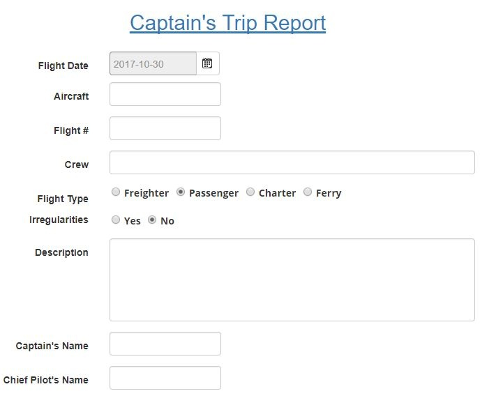 Captain's trip report aviation SMS