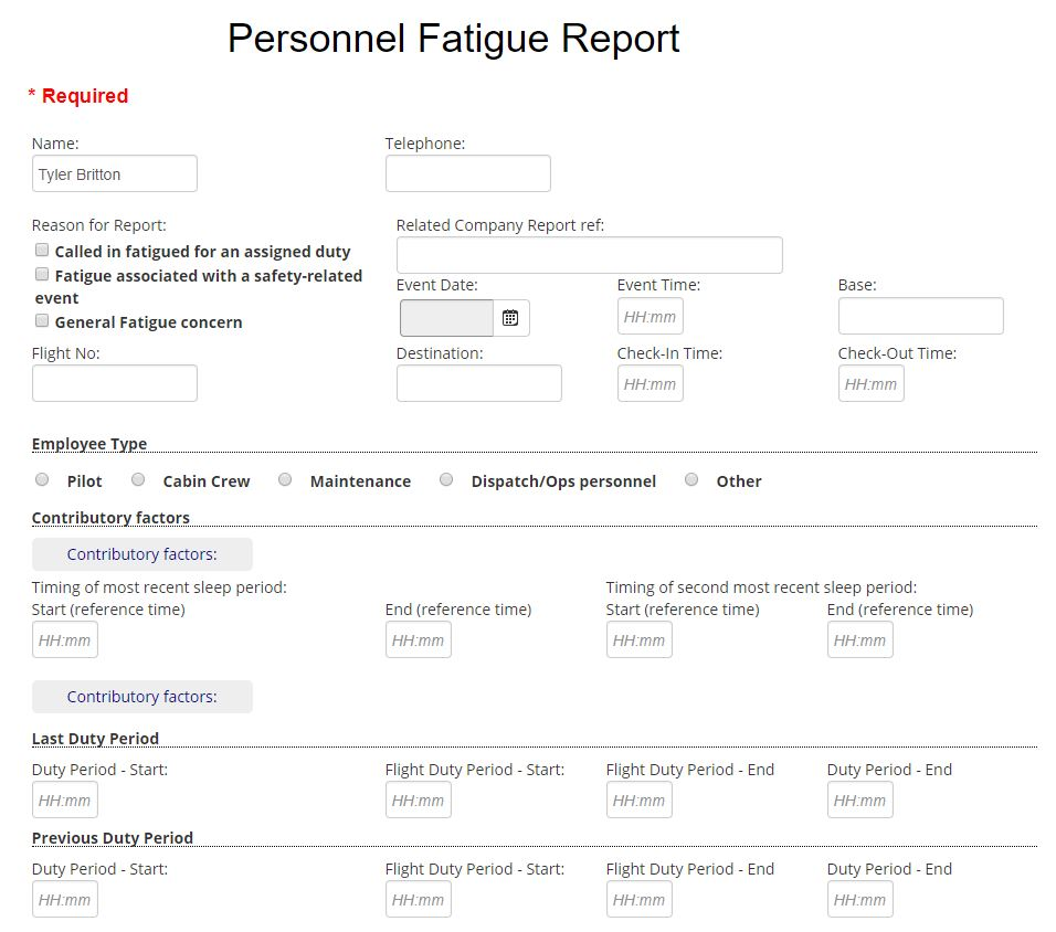 Fatigue Report In Aviatoin SMS