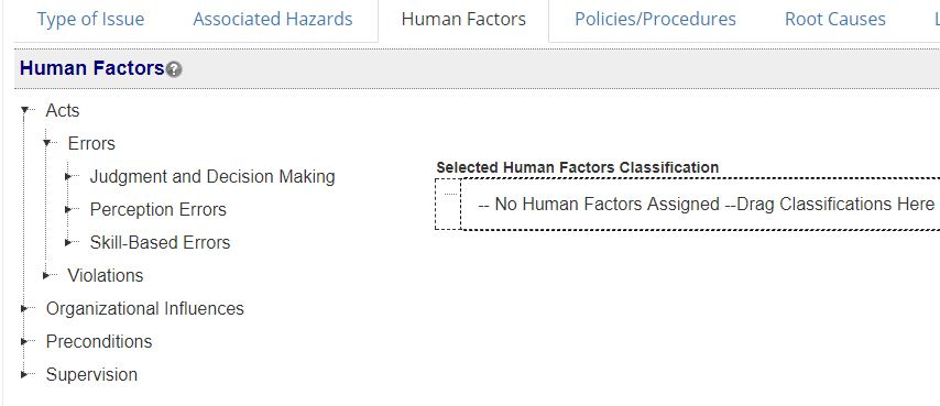 Human Factors Classifications in SMS Pro
