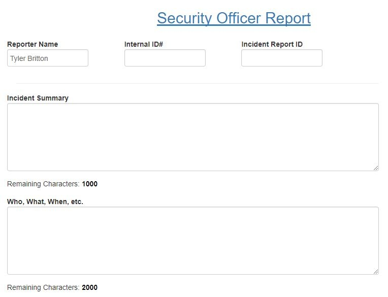 Security officer report aviation SMS