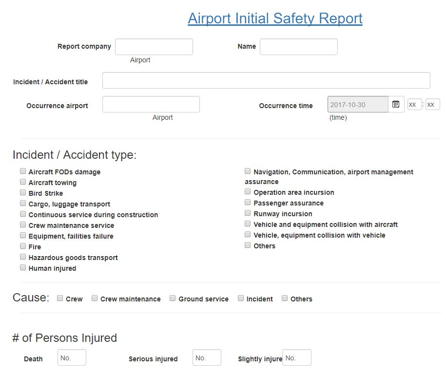 Airport Initial Safety Report in Aviation SMS