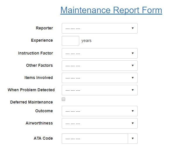 Maintenance Report Form in Aviation SMS